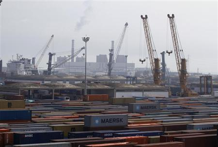 A general view shows a shipping container area at the port of Halk al-Wad, in Tunis February 19, 2013. REUTERS/Anis Mili