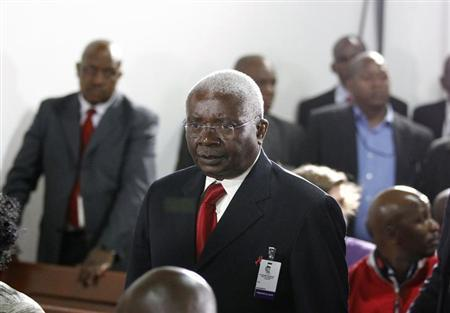 Mozambique's President Armando Guebuza arrives for the lighting-up ceremony of the centenary torch ceremony ahead of the upcoming African National Congress (ANC) centenary celebration in Bloemfontein January 8, 2012. REUTERS/Siphiwe Sibeko