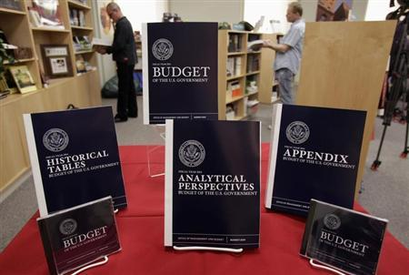 Copies of U.S. President Barack Obama's Fiscal Year 2014 Budget is on display at the Government Printing Office in Washington April 10, 2013. REUTERS/Yuri Gripas