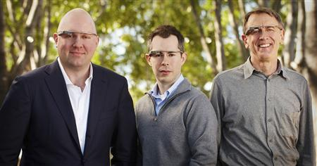 Marc Andreessen of Andreessen Horowitz (L to R), Bill Maris of Google Ventures and John Doerr of Kleiner, Perkins Caufield & Byers are shown in this undated handout photo provided by Glasscollective.com April 10, 2013. The three venture firms are teaming up to provide funding for startups working with Google Glass, the hybrid eyeglasses and smartphone developed by Google. REUTERS/Eric Laurits/Handout