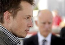 Tesla Chief Executive Office Elon Musk attends a celebration at his company's factory in Fremont, California, June 22, 2012, as the car company began delivering its Model S electric sedan. REUTERS/Noah Berger