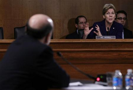 Federal Reserve Board Chairman Ben Bernanke is questioned by U.S. Senator Elizabeth Warren (D-MA) during a Senate Banking, Housing and Urban Affairs Committee hearing on ''The Semiannual Monetary Policy Report to the Congress.'' in Washington February 26, 2013. REUTERS/Gary Cameron