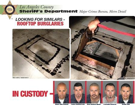 Five suspects in a series of bank robberies are shown in this combination of booking mug shots released by the Los Angeles County Sheriff's Department to Reuters April 10, 2013. REUTERS/Los Angeles County Sheriff's department/Handout