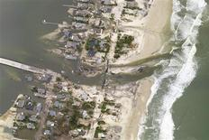 This National Oceanic and Atmospheric Administration (NOAA) photograph taken on October 31, 2012 shows a new inlet that was cut across the barrier island of the New Jersey coastal town Mantoloking just north of where Hurricane Sandy made landfall in Ocean County, New Jersey. REUTERS/NOAA/Handout/Files
