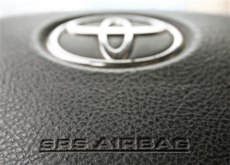 The steering wheel of a Toyota car which contains an airbag is pictured in Vienna April 11, 2013. REUTERS/Heinz-Peter Bader
