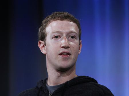 Mark Zuckerberg, Facebook's co-founder and chief executive during a Facebook press event to introduce 'Home' a series of applications that integrates the Facebook platform into the Android operating system, in Menlo Park, California, April 4, 2013. REUTERS/Robert Galbraith