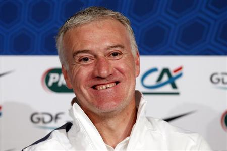 France's national team coach Didier Deschamps attends a news conference at the Stade de France stadium in Saint-Denis, near Paris, March 25, 2013. REUTERS/Benoit Tessier