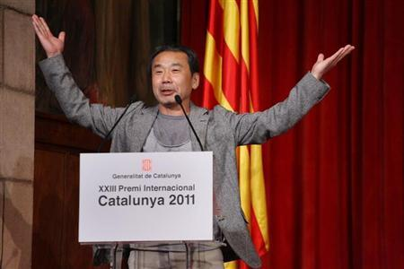 Japanese writer Haruki Murakami speaks during a ceremony where he was awarded the ''XXIII Premi Internacional Catalunya'' prize in Barcelona, June 9, 2011. REUTERS/Generalitat de Catalunya/Handout