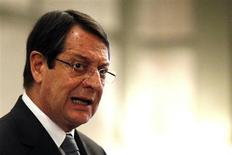 Cyprus' President Nicos Anastasiades addresses a conference of civil servants in Nicosia March 29, 2013. REUTERS/Bogdan Cristel
