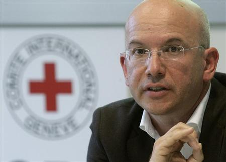 International Committee of the Red Cross (ICRC) Director general Yves Daccord gestures during a news conference in Geneva August 10, 2011. REUTERS/Denis Balibouse
