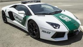 A Lamborghini Aventador, a model which will be used by Dubai police, is displayed in this handout picture provided by Dubai Police Media office April 11, 2013. REUTERS/Dubai Police Media office/Handout