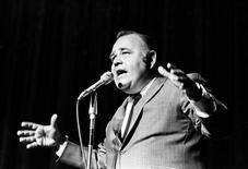 "Comedian Jonathan Winters performs at the International Hotel in Las Vegas, Nevada in this September 7, 1971 handout photo from the Las Vegas News Bureau. Winters, the film and TV actor who starred on ""Mork and Mindy,"" died April 11, 2013 at age 87 in Montecito, California of natural causes. REUTERS/Las Vegas News Bureau/Handout"