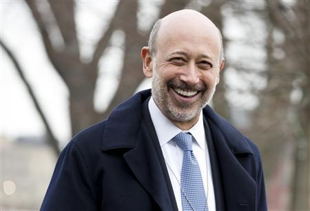 Lloyd Blankfein, Chairman and CEO, Goldman Sachs Group, arrives to meet with U.S. REUTERS/Joshua Roberts