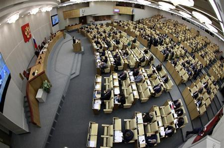 Deputies attend a session of the Duma, Russia's lower house of Parliament, in Moscow January 25, 2013. REUTERS/Sergei Karpukhin