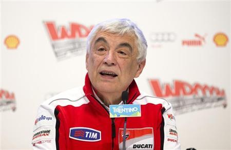 Ducati CEO Gabriele Del Torchio speaks during a news conference at the Wrooom, F1 and MotoGP Press Ski Meeting, Ducati and Ferrari's annual media gathering, in Madonna di Campiglio January 15, 2013. REUTERS/Max Rossi