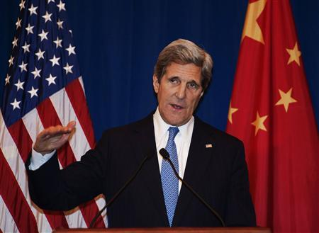 U.S. Secretary of State John Kerry attends a news conference in Beijing April 13, 2013. REUTERS/Paul J. Richards/Pool