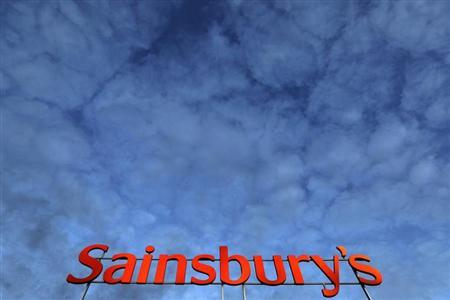A Sainsbury's supermarket sign is seen in London January 11, 2012. REUTERS/Stefan Wermuth