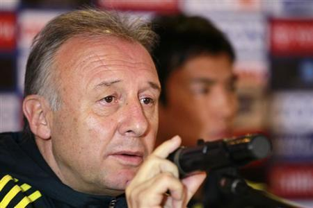 Japan's head coach Alberto Zaccheroni of Italy speaks during a news conference before their World Cup qualifying match against Jordan, which will be held on Tuesday, in Amman March 25, 2013. REUTERS/Muhammad Hamed