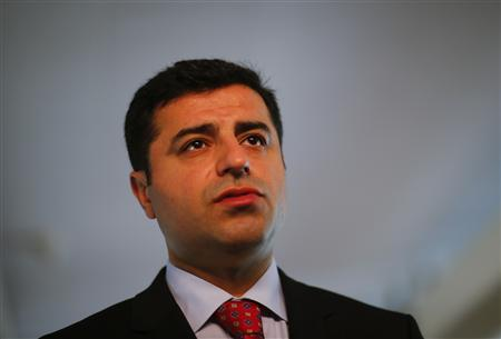 Selahattin Demirtas, co-chairman of the pro-Kurdish Peace and Democracy Party (BDP) answers a question during a Reuters interview in Berlin April 15, 2013. REUTERS/Pawel Kopczynski