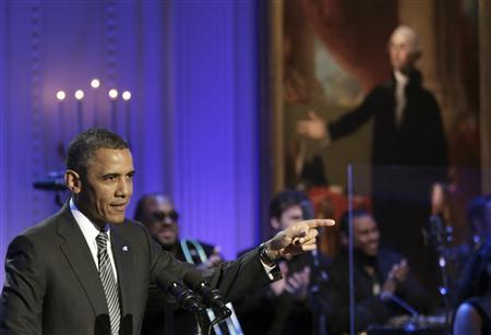 U.S. President Barack Obama delivers remarks at a concert celebrating Memphis Soul music at the White House in Washington April 9, 2013. REUTERS/Yuri Gripas