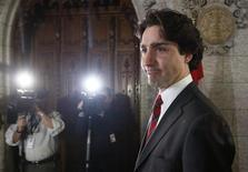 Liberal leader Justin Trudeau arrives to speak to journalists on Parliament Hill in Ottawa April 15, 2013. REUTERS/Chris Wattie