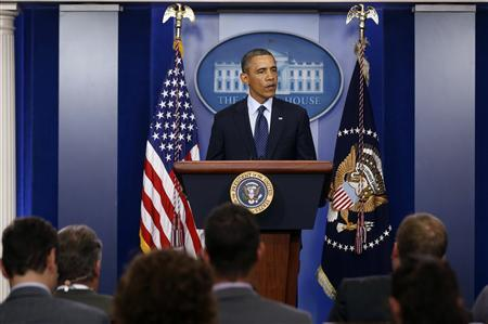 U.S. President Barack Obama talks about the bomb blast at the finish line of the Boston Marathon while in the Brady Press Briefing Room at the White House in Washington, April 15, 2013. REUTERS/Larry Downing