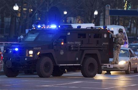 A Metro SWAT armoured vehicle arrives at the Boston Common near the scene of multiple bombings near the finish line of the Boston Marathon in Boston, Massachusetts April 15, 2013. REUTERS/Scott Eisen
