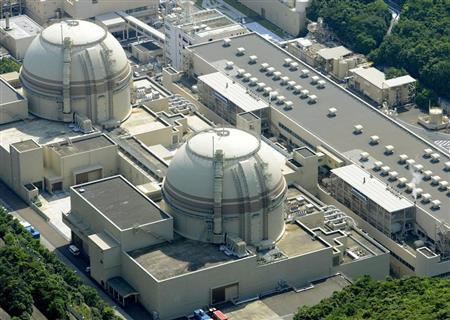 An aerial view shows Kansai Electric Power Co's Ohi nuclear power plant's No. 4 reactor (front) in Ohi, Fukui prefecture, in this photo taken by Kyodo July 19, 2012. REUTERS/Kyodo