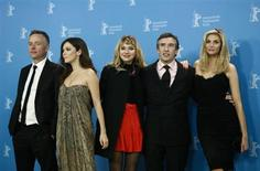"Director Michael Winterbottom and actors Anna Friel, Imogen Poots, Steve Coogan and Tamsin Egerton (L-R) pose during a photocall to promote the movie ""The Look of Love"" at the 63rd Berlinale International Film Festival in Berlin February 10, 2013. REUTERS/Thomas Peter"