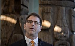 NDP leader Adrian Dix talks to supporters at the Museum of Anthropology while starting the provincial election campaign in Vancouver, British Columbia April 16, 2013. REUTERS/Andy Clark