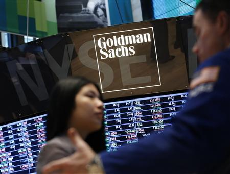 A Goldman Sachs sign is seen on the floor at the New York Stock Exchange, in this March 15, 2013, file photo. REUTERS/Brendan McDermid/Files