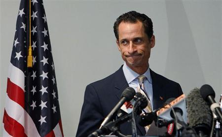 File photo of Anthony Weiner announcing that he will resign from the United States House of Representatives during a news conference in Brooklyn, New York, June 16, 2011. REUTERS/Shannon Stapleton