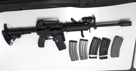 A Bushmaster semi-automatic assault rifle, similar to the type used by 20-year-old Adam Lanza during the shooting at Sandy Hook Elementary school on December 14, is turned in during a gun buyback event at the New Haven Police Academy in New Haven, Connecticut, December 22, 2012. REUTERS/ Michelle McLoughlin