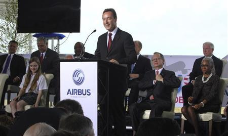 Fabrice Bregier, Airbus President and CEO speaks at a ground breaking ceremony for Airbus for its first U.S. assembly plant in Mobile, Alabama April 8, 2013. REUTERS/Lyle Ratliff