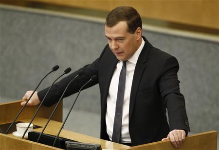 Russia's Prime Minister Dmitry Medvedev makes an address to the Lower House of Parliament in Moscow April 17, 2013. REUTERS/Sergei Karpukhin