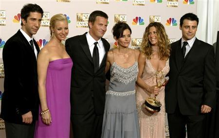 The cast of ''Friends'' appears in the photo room at the 54th annual Emmy Awards in Los Angeles September 22, 2002. REUTERS/Mike Blake