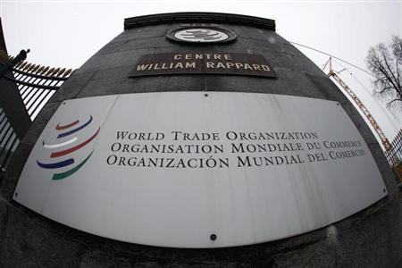The World Trade Organization WTO logo is seen at the entrance of the WTO headquarters in Geneva April 9, 2013. REUTERS/Ruben Sprich
