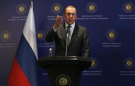 Russia's Foreign Minister Sergei Lavrov speaks during a joint news conference with his Turkish counterpart Ahmet Davutoglu (not pictured) at Ciragan Palace in Istanbul April 17, 2013. REUTERS/Murad Sezer