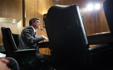 U.S. Treasury Secretary Jack Lew testifies before the Senate Finance Committee on U.S. President Barack Obama's Fiscal Year 2014 budget, on Capitol Hill in Washington April 11, 2013. REUTERS/Joshua Roberts