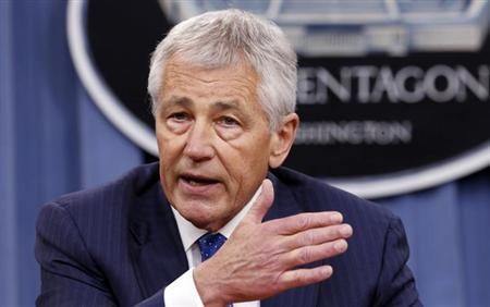 U.S. Defense Secretary Chuck Hagel speaks during a briefing on the Defense Department's FY2014 budget at the Pentagon in Washington April 10, 2013. REUTERS/Kevin Lamarque