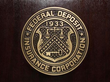 The Federal Deposit Insurance Corp (FDIC) logo is seen at the FDIC headquarters as Chairman Sheila Bair announces the bank and thrift industry earnings for the fourth quarter 2010, in Washington, February 23, 2011.  Credit: Reuters/Jason Reed