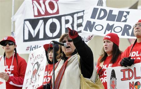 Taz Bouchier, an elder with the Idle No More movement, speaks during a rally in solidarity with the Washington D.C. protest against the Keystone XL pipeline and for environmental action in Edmonton February 17, 2013. REUTERS/Dan Riedlhuber
