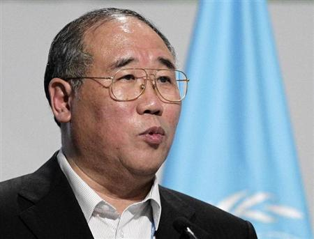 China's Senior Climate Change Official Xie Zhenhua gives a speech during a plenary session at the Moon Palace, where climate talks are taking place, in Cancun, December 8, 2010. REUTERS/Henry Romero