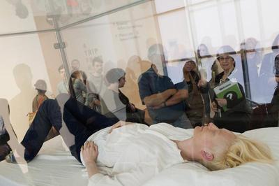 Tilda Swinton sleeping at MoMA