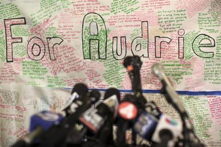 A message board for Audrie Pott is shown at a news conference in San Jose, California April 15, 2013. REUTERS/Robert Galbraith