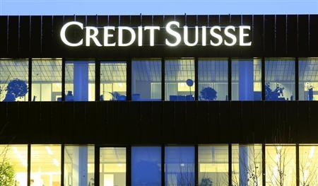 The logo of Swiss bank Credit Suisse is seen at an office building in Zurich February 7, 2013. REUTERS/Arnd Wiegmann
