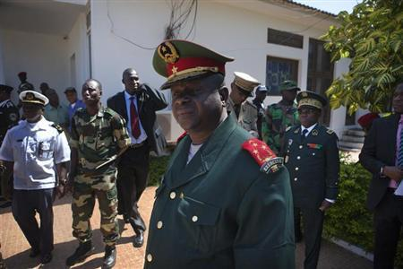 Guinea-Bissau armed forces chief-of-staff General Antonio Indjai (C) leaves a meeting with the president and the regional body of the Economic Community of West African States (ECOWAS) in the capital Bissau November 7, 2012. REUTERS/Joe Penney