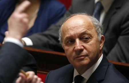 French Foreign Affairs Minister Laurent Fabius attends the questions to the government session at the National Assembly in Paris April 17, 2013. REUTERS/Charles Platiau