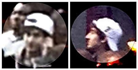 A suspect wanted for questioning in relation to the Boston Marathon bombing April 15 is seen in handout photos during an FBI news conference in Boston, April 18, 2013. REUTERS/FBI/Handout
