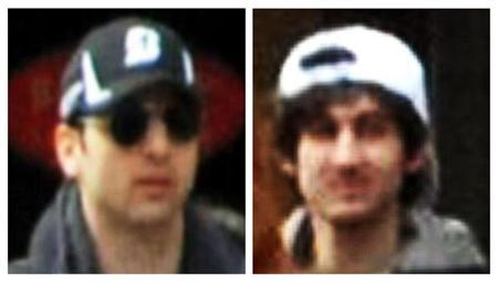 A combination of handout pictures released through the FBI website on April 18, 2013 show the suspects wanted for questioning in relation to the Boston Marathon bombing April 15. REUTERS/FBI/Handout